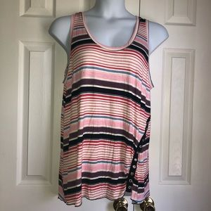 Maurices Plus Size NWOT Pink Striped Tank Top